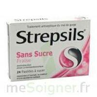 STREPSILS FRAISE SANS SUCRE, pastille édulcorée à l'isomalt, au maltitol et à la saccharine sodique à EPERNAY