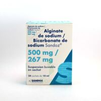 ALGINATE DE SODIUM/BICARBONATE DE SODIUM SANDOZ 500 mg/267 mg, suspension buvable en sachet à EPERNAY