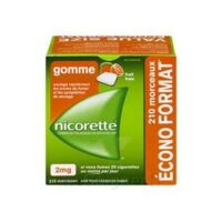Nicorette 2 mg Gomme à mâcher médicamenteuse sans sucre fruits Plq/210 à EPERNAY